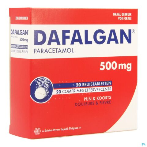 Dafalgan Adultes 500mg 20 Comprimés Effervescents