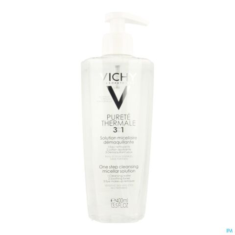Vichy Pureté Thermale Solution Micellaire Démaquillante 3en1 Flacon Pompe 400ml
