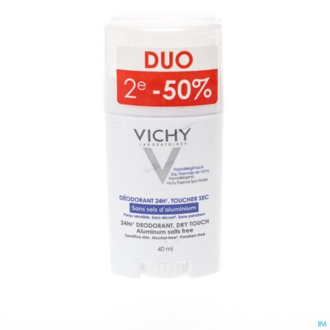 VICHY DEO P REACT. S/SEL ALU STICK 24H DUO 2X40ML