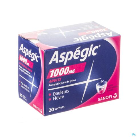 Aspegic 1000mg Adultes 20 Sachets