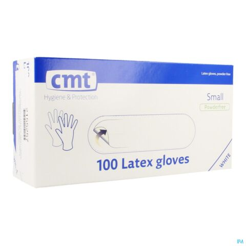 CMT GANTS LATEX BLANC PF S 100
