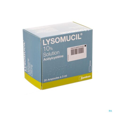 Lysomucil 10% Solution Toux Grasse 20 Ampoules x 3ml