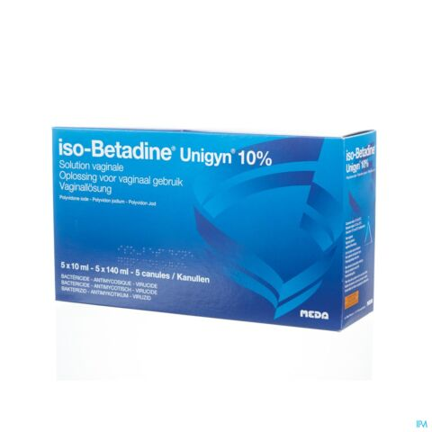 Iso-Betadine Unigyn 10% Solution Vaginale 5 x 10ml - 5 x 140ml - 5 Canules