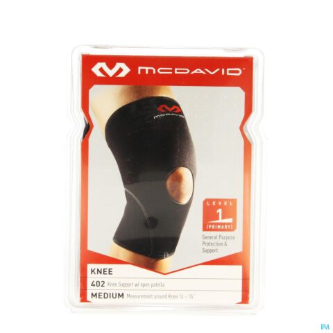MCDAVID KNEE SUPP.OPEN PATELLA BLACK/SCARLET M 402