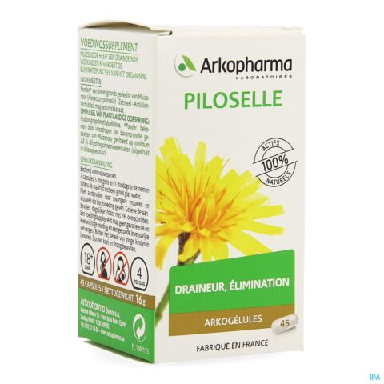 Arkopharma Arkogélules Piloselle Draineur & Elimination 45 Gélules
