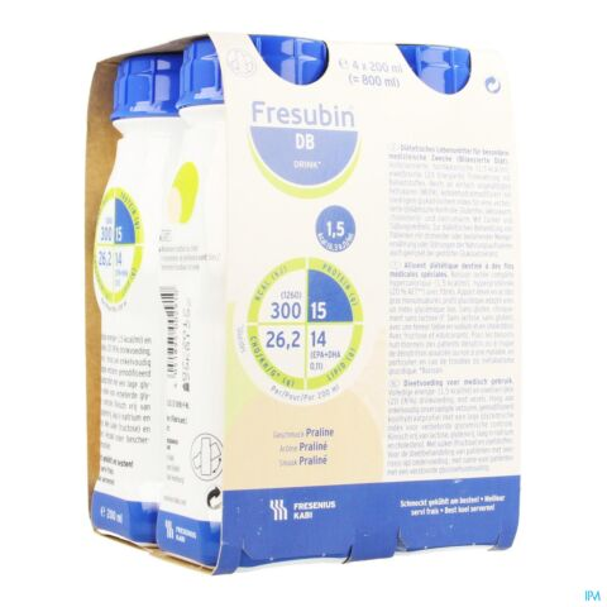 FRESUBIN DB DRINK PRALINE EASYBOT.4X200ML