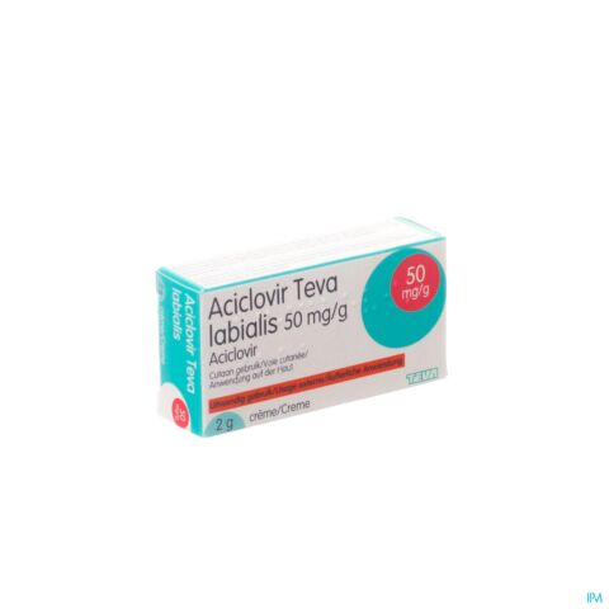 Aciclovir Teva Labialis 50mg/g Crème Tube 2g