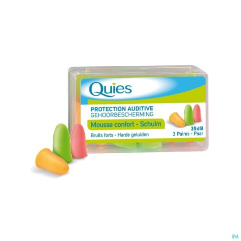 Quies Protection Auditive Mousse Confort Fluo Bruits Forts 35dB 3 Paires