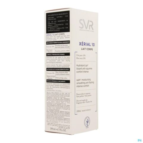 SVR Xerial 10 Lait Corps Hydratant 24h Lissant Anti-Squames Confort Intense Tube 200ml