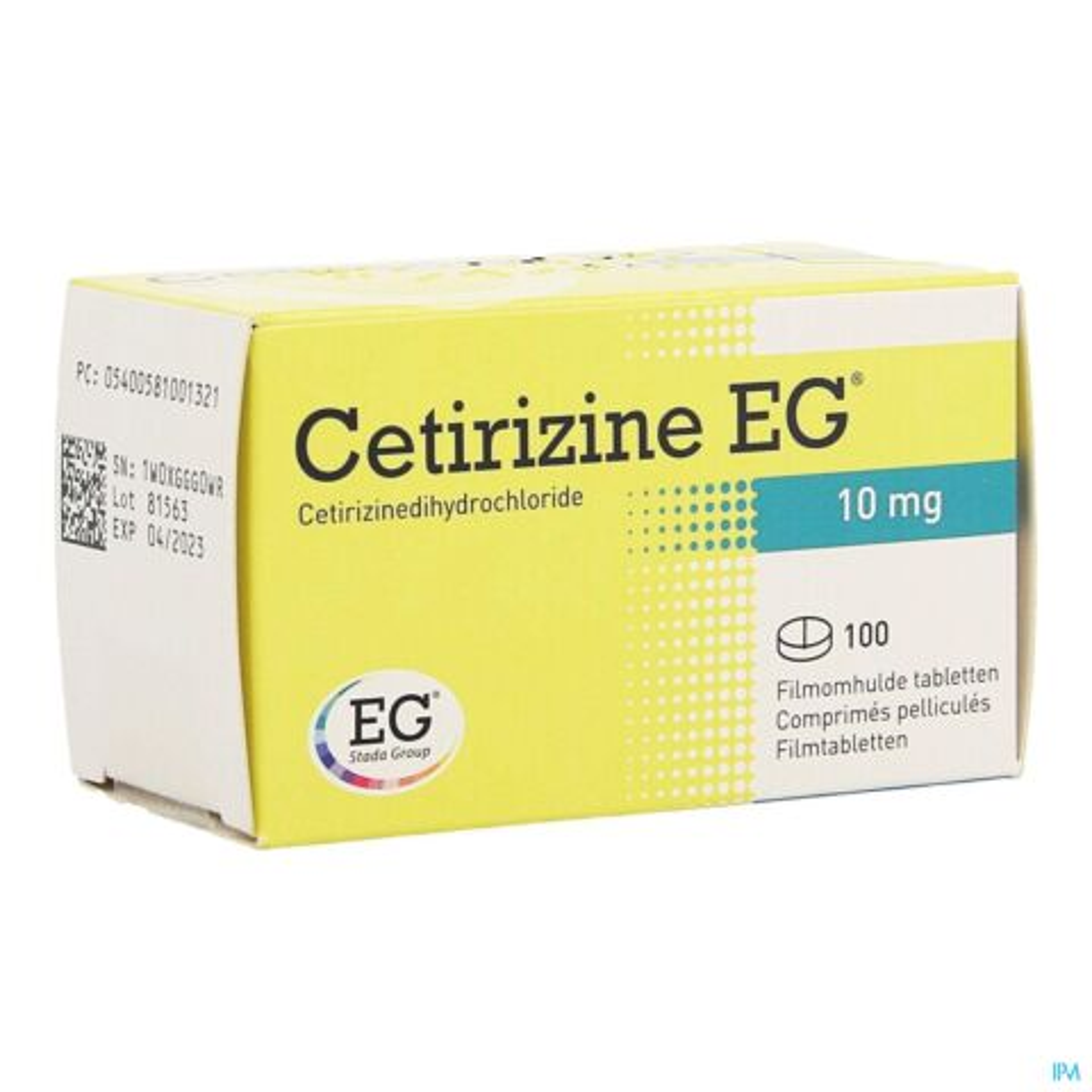 Cetirizine EG 10mg 100 Comprimés Pelliculés