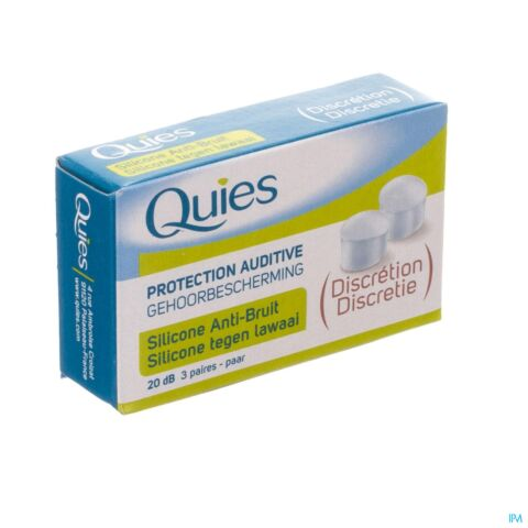Quies Protection Auditive Silicone Anti-Bruit Discrétion 20dB 3 Paires