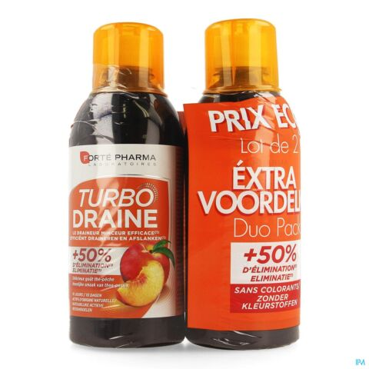 Forté Pharma TurboDraine Thé Vert Pêche Flacon Duo 2x500ml